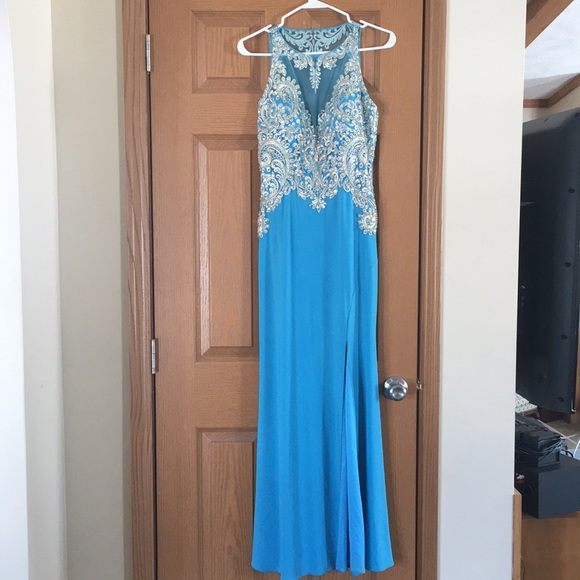 boom babies Dresses | Light Blue Long Embroidered Prom Dress | Poshmark